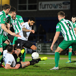TELFORD COPYRIGHT MIKE SHERIDAN Ellis Deeney of Telford battles for the ball  in a crowded penalty area during the Vanarama Conference North fixture between AFC Telford United and Blyth Spartans at The New Bucks Head on Tuesday, January 28, 2020.<br /> <br /> Picture credit: Mike Sheridan/Ultrapress<br /> <br /> MS201920-043