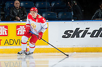 KELOWNA, CANADA - NOVEMBER 9: Ilya Dervuk # 3 of Team Russia skates against the Team WHL on November 9, 2015 during game 1 of the Canada Russia Super Series at Prospera Place in Kelowna, British Columbia, Canada.  (Photo by Marissa Baecker/Western Hockey League)  *** Local Caption *** Ilya Dervuk;