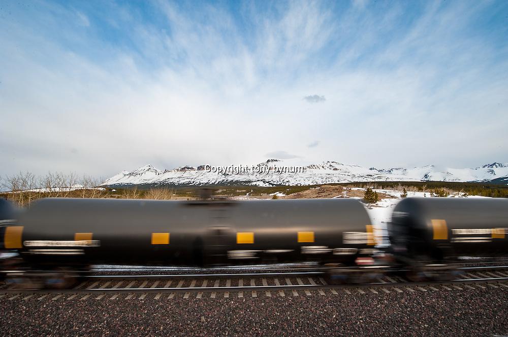 oil train hauling bakken oil across the blackfeet reservation and glacier national park, montana contact tony@tonybynum.com for more images