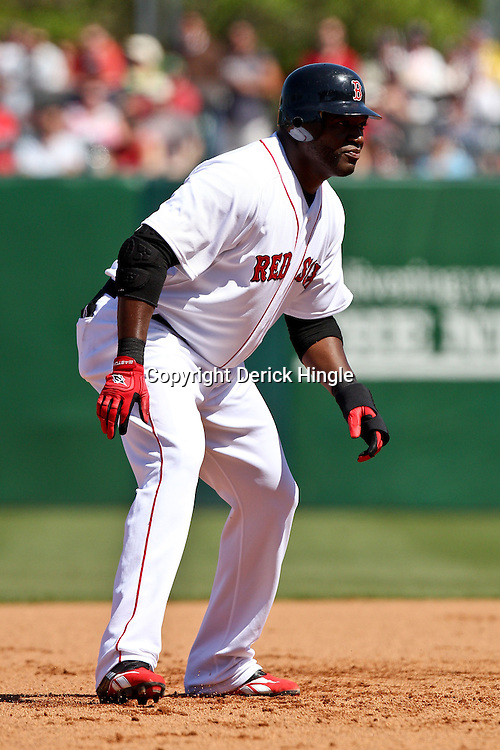 March 12, 2011; Fort Myers, FL, USA; Boston Red Sox first baseman David Ortiz (34) during a spring training exhibition game against the Florida Marlins at City of Palms Park. The Red Sox defeated the Marlins 9-2.  Mandatory Credit: Derick E. Hingle
