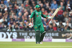 May 19, 2019 - Leeds, England, United Kingdom - Sarfraz Ahmed the Pakistan captain celebrates after scoring fifty during the 5th Royal London One Day International match between England and Pakistan at Headingley Carnegie Stadium, Leeds on Sunday 19th May 2019. (Credit Image: © Mi News/NurPhoto via ZUMA Press)