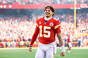 Kansas City Chiefs quarterback Patrick Mahomes before the start of an NFL, AFC Championship football game against the Tennessee Titans, Sunday, Jan. 19, 2020, in Kansas City, MO. The Chiefs won 35-24 to advance to Super Bowl 54. (AP Photo/Colin E. Braley) Colin Eric Braley Photography