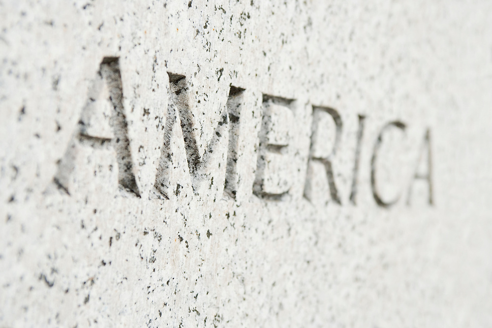 The word America engraved in stone Washington DC USA&#xA;<br />