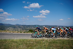 Tayler Wiles (USA) leads the peloton up the first climb at Tour Cycliste Féminin International de l'Ardèche 2018 - Stage 7, a 90.9km road race from Chomerac to Privas, France on September 18, 2018. Photo by Sean Robinson/velofocus.com