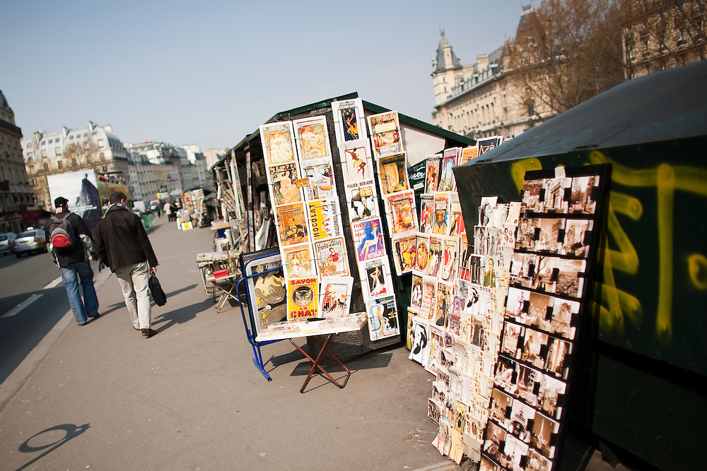 Vendors sell books and posters along the Left Bank of the Seine River in Paris