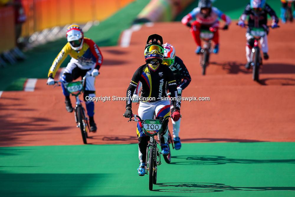 Picture by Alex Whitehead/SWpix.com - 19/08/2016 - 2016 Rio Olympic Games - BMX - Olympic BMX Centre, Rio de Janeiro, Brazil - Colombia's Mariana Pajon wins Gold in the Women's Final.