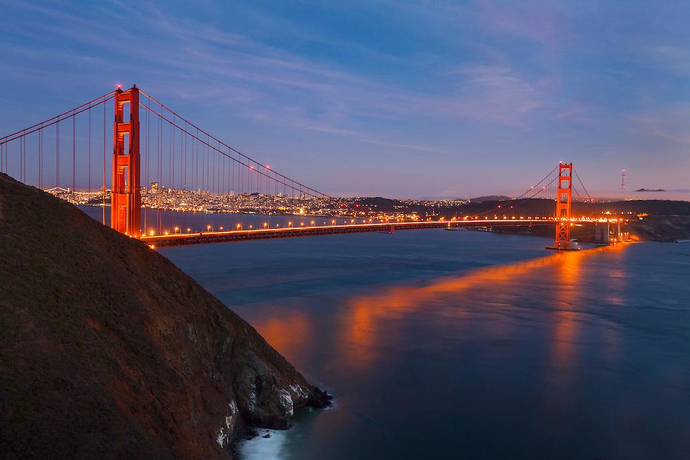 Golden Gate Bridge - Marin Headlands - Dusk Long Exposure