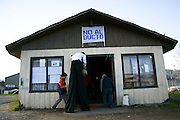 The fishermen and divers Union house becomes a meeting place. In the banner of the entrance reads &quot;Not to the pipeline&quot;.<br /> The Community of Mehuin, in southern Chile, have been struggling for more than ten years to prevent that CELCO (Arauco Cellulose), a major cellulose industry, builds a pipeline to throw away their industrial waste into the sea causing great impact in the ecosystem and their fishing and diving way of making a living.