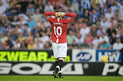 WIGAN, ENGLAND - Sunday, May 11, 2008: Manchester United's Wayne Rooney rues a missed chance against Wigan Athletic during the final Premiership match of the season at the JJB Stadium. (Photo by David Rawcliffe/Propaganda)