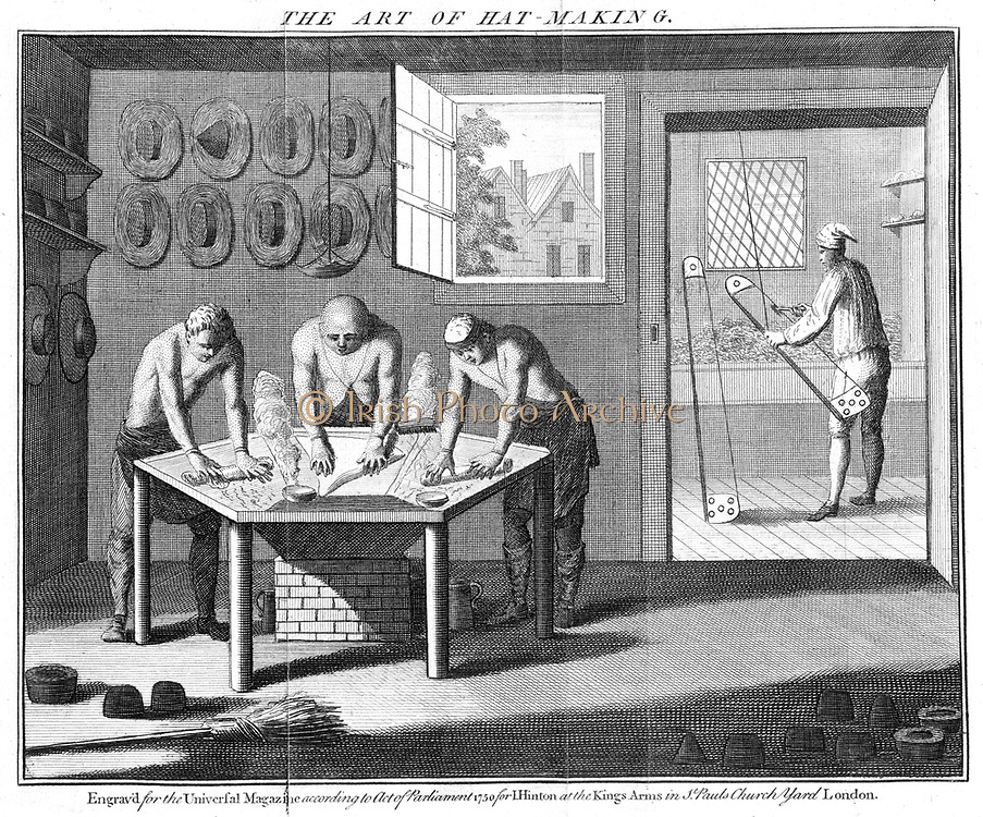 Making beaver hats, 1750. Although called beaver, little or no beaver fur was used. According to quality, nap on felt fabric was made of mixtures of beaver, musquash or rabbit fur, and cotton wool, and was bowed into condition by man at right.  Felt base was softened in the 'kettle' and the nap then applied. Mercury was used during manufacture and the fumes inhaled by the men round steaming 'kettle'. Many hatters suffered from the uncontrollable shaking typical of mercury poisoning which damaged the central nervous system.  The Mad Hatter in 'Alice in Wonderland' exhibited these symptoms.  From 'The Universal Magazine', (London, 1750). Engraving.