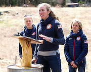 EAST MONTPELIER - USA Vermont Olympians speak at Morse Farm about the influence of climate change on winter sports they have experienced world wide and make suggestions on attacking the problem. Speaking, Susan Dunklee, L/R Ida Sargent, Liz Stephens.