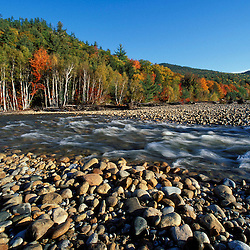 A cobble beach on the Saco River in New Hampshire's White Mountains. Cohos Trail.  Bartlett, NH