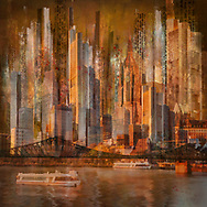 Skyline collage with skyline buildings of Frankfurt and a bridge over the Main river colored in golden sunset tones