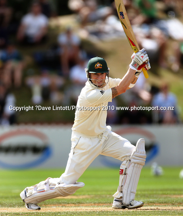 Australian batsman Michael Clarke.<br /> 1st cricket test match - New Zealand Black Caps v Australia, day two at the Basin Reserve, Wellington.Saturday, 20 March 2010. Photo: Dave Lintott/PHOTOSPORT