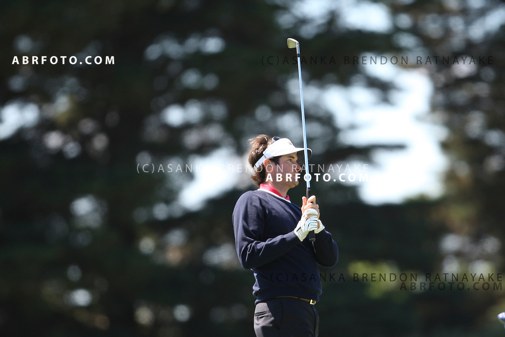 20 November 2011 : American Bubba Watson looks up after playing an iron shot on the 2nd hole during the fifth-round Sunday Final round single ball matches at the Presidents Cup at the Royal Melbourne Golf Club in Melbourne, Australia. .