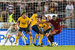 (L-R) goalkeeper Jan Oblak of Club Atletico de, Madrid, Stefan Savic of Club Atletico de Madrid, Thomas Partey of Club Atletico de Madrid, Filipe Luis of Club Atletico de Madrid, Gregoire Defrel of AS Roma during the UEFA Champions League group C match match between AS Roma and Atletico Madrid on September 12, 2017 at the Stadio Olimpico in Rome, Italy.