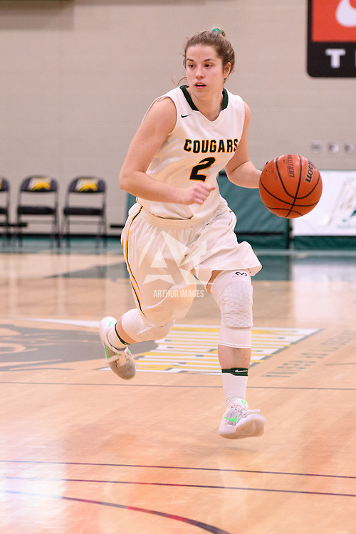 2nd year guard Michaela Kleisinger (2) of the Regina Cougars in action during the home game on December  2 at Centre for Kinesiology, Health and Sport. Credit: Arthur Ward/Arthur Images