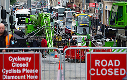 Edinburgh, Scotland, UK. 3 September, 2019. Road closures at Waterloo Place in Edinburgh prior to shooting for new Fast and Furious movie.