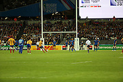 Florin Vlaicu (Romania) scoring a penalty just before half time to take the score F17 R6 during the Rugby World Cup Pool D match between France and Romania at the Queen Elizabeth II Olympic Park, London, United Kingdom on 23 September 2015. Photo by Matthew Redman.