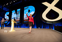 Pictured: SNP leader and First Minister Nicola Sturgeon welcomed to the stage at the opening of the conference.<br /> <br /> The first day of the SNP autumn conference at the SEC in glasgow.<br /> <br /> © Dave Johnston / EEm
