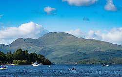 View of Ben Lomond beside Loch Lomond from Luss in Argyll and Bute, Scotland, United Kingdom