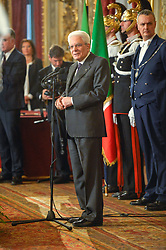 March 27, 2018 - Rome, Italy - Sergio Mattarella during  ceremony of the return of the Italian flag by the athletes who participated in the Olympics Winter and Paralympic Games of PyeongChang 2018, Rome on march 27, 2018  (Credit Image: © Silvia Lore/NurPhoto via ZUMA Press)
