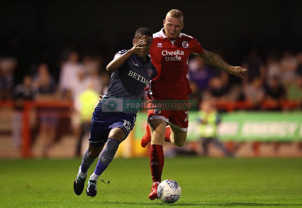 Charlton Athletic's Ezri Konsa (left) and Crawley Town's Thomas Verheijdt battle for the ball
