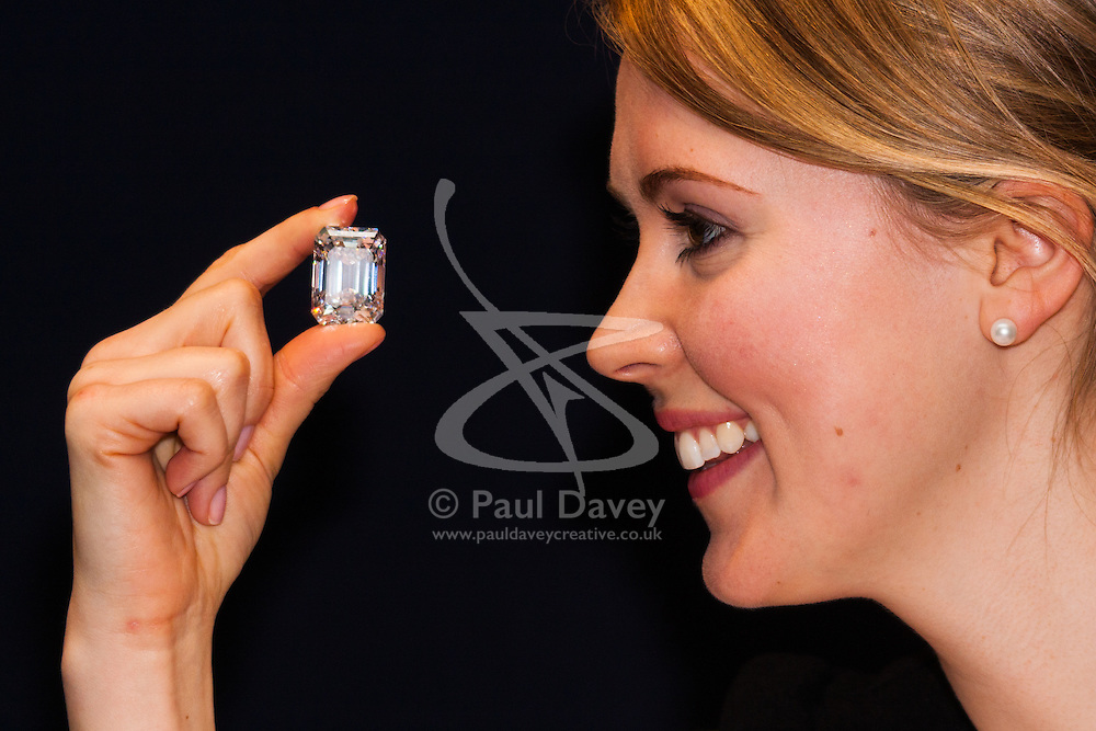 """London, February 13th 2015. The perfect Valentine's day gift? Undoubtedly, for those who can afford this extremely rare 100-carat """"D"""" colour diamond, emerald cut,  the highlight in  New York this spring at Sotheby's Magnificent Jewels auction and is expected to fetch $19-25 million. // Contact/payment Paul Davey tel: +44 (0) 7966016296"""