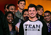Nick Lachey and the Cincinnati Clash Choir onstage during the NBC 'Clash Of The Choirs' full show rehearsal at Steiner Studios in Brooklyn, New York City, USA on December 16, 2007.