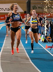 Lieke Klaver wins the 400 meters and Femke Bol comes in second during the Dutch Indoor Athletics Championship on February 23, 2020 in Omnisport De Voorwaarts, Apeldoorn