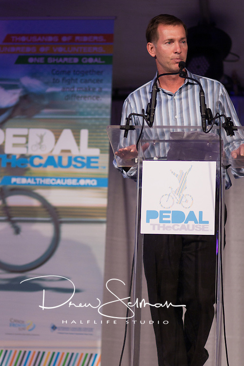 8-OCT-2010 -- ST LOUIS - St. Louis businessman and Pedal the Cause founder, Bill Koman speaks at the kick off event for the inaugural Pedal the Cause cycling event.  Komen, himself a cancer survivor, founded Pedal the Cause as an annual cycling event that seeks to provide and direct net funding for cancer research, cancer discovery grants and clinical translational care on best ideas not currently eligible for federal funds.  With 100% of donations remaining in St. Louis, the event was started by Bill, himself a cancer survivor.