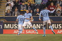 April 14, 2017 - Chester, PA, United States of America - New York City FC Midfielder JACK HARRISON (11) celebrates with teammates after scoring in the 52nd minute of the second half of a Major League Soccer match between the Philadelphia Union and New York City FC Friday, Apr. 17, 2016 at Talen Energy Stadium in Chester, PA. (Credit Image: © Saquan Stimpson via ZUMA Wire)