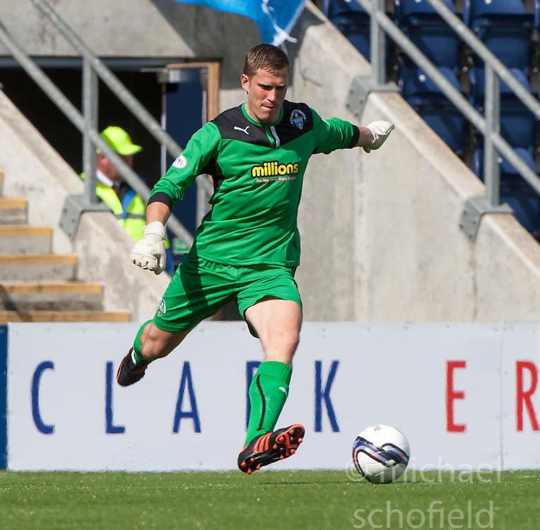 Morton's keeper Derek Gaston.<br /> Falkirk 3 v 1 Morton, Scottish Championship 17/8/2013.<br /> &copy;Michael Schofield.