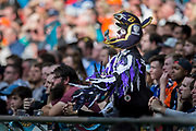 Baltimore Ravens fan cheers his team on during the International Series match between Baltimore Ravens and Jacksonville Jaguars at Wembley Stadium, London, England on 24 September 2017. Photo by Jason Brown.