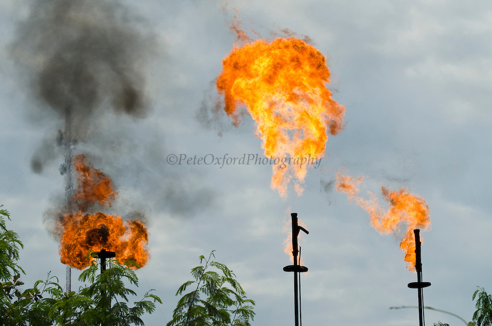 Gas burn-off stations. Oil production<br /> Tons of insects get cremated<br /> Along Napo River, Sacha Oil Block, Amazon Rainforest<br /> ECUADOR. South America