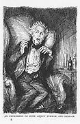 Robert Louis Stevenson 'The Strange Case of Dr Jekyll and Mr Hyde' first published 1886. 'An expression of such abject terror and despair' comes across Dr Jekyll's face in the middle of a conversation with Mr Utterson and Mr Enfield. Illustration by Edmund J Sullivan from an edition published 1928.