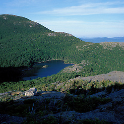 Weld, ME. Tumbledown Pond and Little Jackson Mountain as seen from the east peak of Tumbledown Mountain. Mt. Blue is in the distance. Northern Forest.