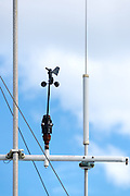 Anemometer on the top of a ship.  An anemometers is an instrument that measures wind speed.