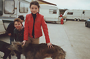 Two kids on Winterbourne Travellers site, Bristol, UK, 1990's