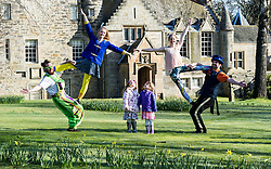 Pictured: Rob Thorburn (hat), Will Borrell, Alyssa Brough (blue jacket) and Kate McWilliam entertained Lily Donald (4 and floral hairband) and Isla Sutherland (4 bow headband) with their skills.<br /> <br /> The Festival of Museums launch featured performers, Rob Thorburn (hat), Will Borrell, Alyssa Brough (blue jacket) and Kate McWilliam from Circus Alba showcasing their skills.<br /> <br /> Ger Harley | EEm 30 March 2016