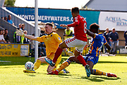 Shrewsbury Town goalkeeper Dean Henderson (1), on loan from Manchester United, saves from Charlton Athletic midfielder Nicky Ajose (8)  during the EFL Sky Bet League 1 Play Off second leg match between Shrewsbury Town and Charlton Athletic at Greenhous Meadow, Shrewsbury, England on 13 May 2018. Picture by Simon Davies.
