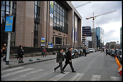 A general view of the exterior of the The Justus Lipsius building headquarters of the Council of the European Union in Brussels, Belgium, April 11, 2013, Picture by Andrew Parsons / i-Images