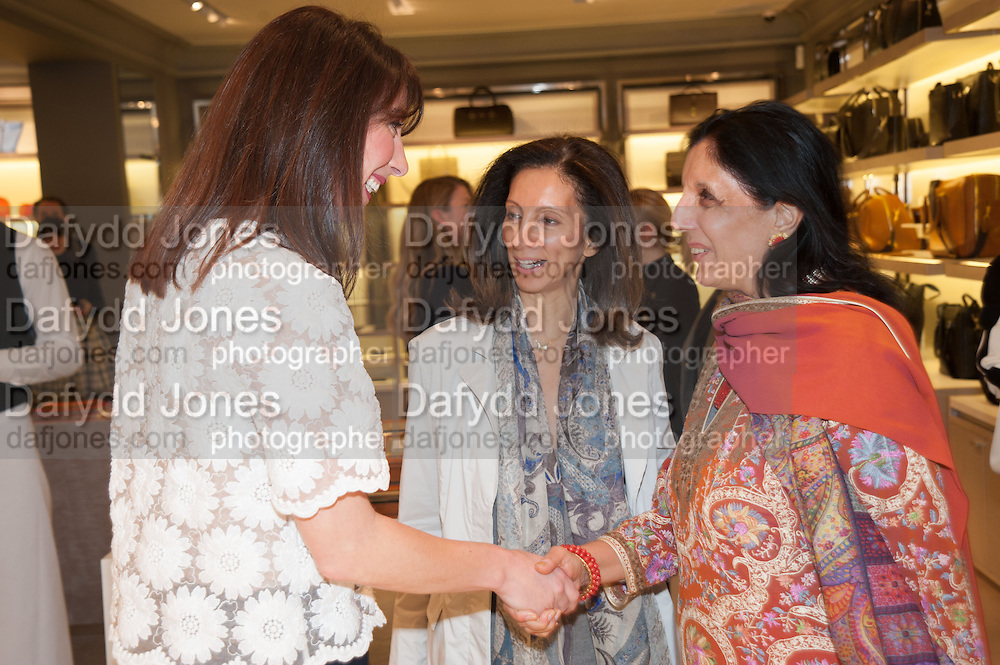 SAMANTHA CAMERON; MRS AIDEN BARCLAY; MONICA BURMAN;, Smythson Sloane St. Store opening. London. 6 February 2012.