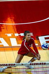 BLOOMINGTON, IL - September 14: Kaity Weimerskirch digs during a college Women's volleyball match between the ISU Redbirds and the University of Central Florida (UCF) Knights on September 14 2019 at Illinois State University in Normal, IL. (Photo by Alan Look)