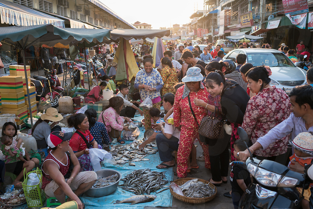 April 27, 2018 - Stung Treng (Cambodia). Fish vendors at the local market. Fish experts have long warned about damage to migration stock due of the construction of dams like the Don Sahong and Lower Sesan 2 on the Mekong river and its tributaries. © Thomas Cristofoletti / Ruom