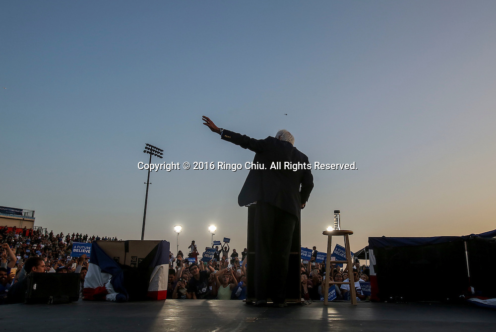 Democratic presidential candidate Bernie Sanders was to supporters during a rally at Ganesha High School Stadium in Pomona Calif., on May 26, 2016.(Photo by Ringo Chiu/PHOTOFORMULA.com)<br /> <br /> Usage Notes: This content is intended for editorial use only. For other uses, additional clearances may be required.