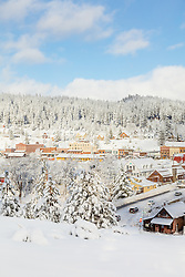 """""""Downtown Truckee 32"""" - Photograph of a snowy historic Downtown Truckee, shot in the morning after a big snow storm."""