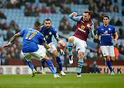 Andreas Wiemann on the attack during the The FA Cup match between Aston Villa and Leicester City at Villa Park, Birmingham, England on 15 February 2015. Photo by Alan Franklin.