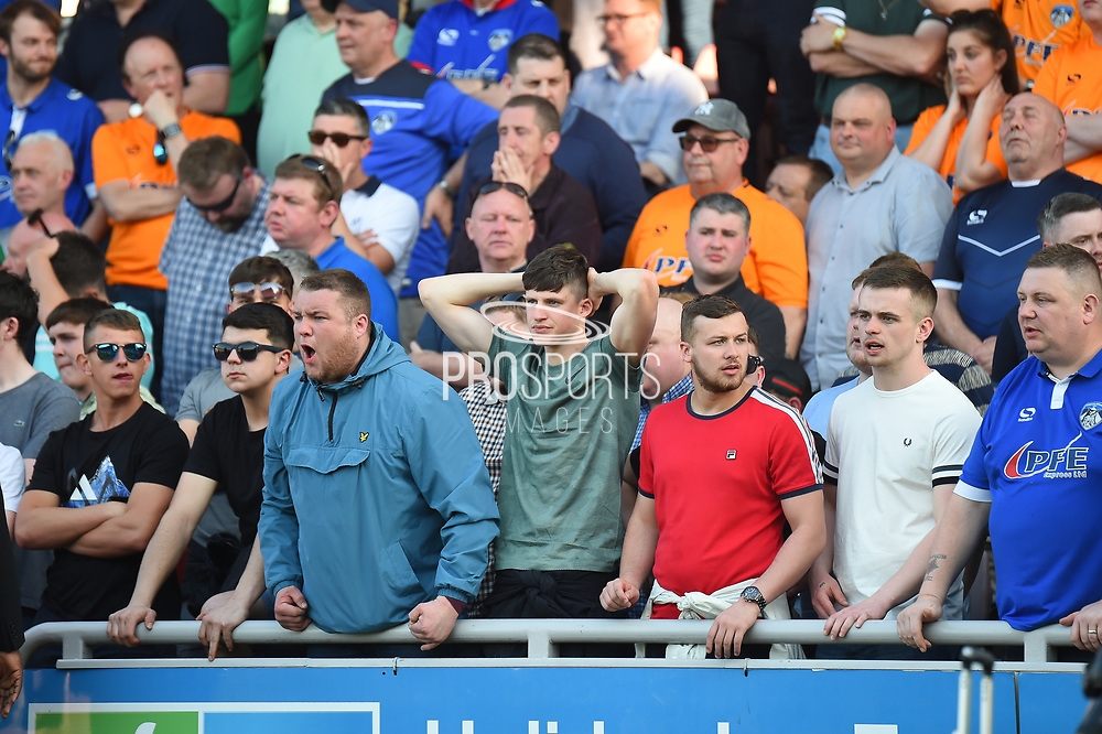 The Oldham fans look concerned during the EFL Sky Bet League 1 match between Northampton Town and Oldham Athletic at Sixfields Stadium, Northampton, England on 5 May 2018. Picture by Dennis Goodwin.