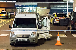 © Licensed to London News Pictures. 26/09/2018. Basildon, UK. Police forensics examine the scene at Basildon Hospital in Essex where a 19 year old male was take  after being shot in Tilbury earlier this evening. The male is being treated for a gunshot wound to the stomach and is currently in a serious condition. Photo Credit Simon Ford/LNP